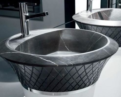 Washbasin freestanding in corian, marble