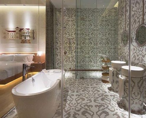 Glass mosaics and parquet